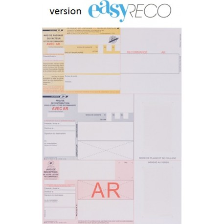 Recommandé  A4 pour logiciel EASYRECO avec AR et code barre